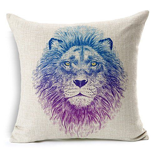 Kingla Home Zippered Couch Cushion Covers Discolor Lion