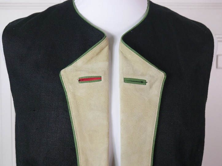 Austrian Vintage Trachten Vest Men's, Black Linen Vest Tan Suede Lapels, Bavarian Vintage Tyrolean Waistcoat, Octoberfest: Size XL (44) by YouLookAmazing on Etsy