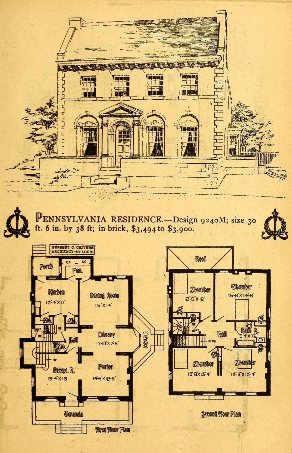 Design For A Pennsylvania Residence Architectural Floor Plans Colonial House Plans Vintage House Plans