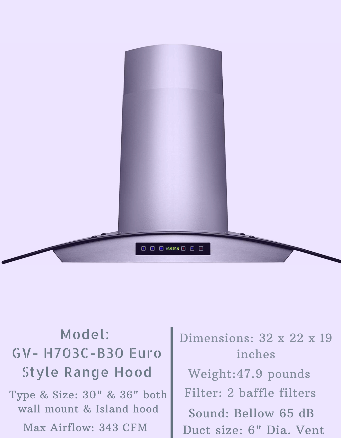 Golden Vantage H703c B30 Euro Style Range Hood Range Hood Reviews Range Hoods Euro Style