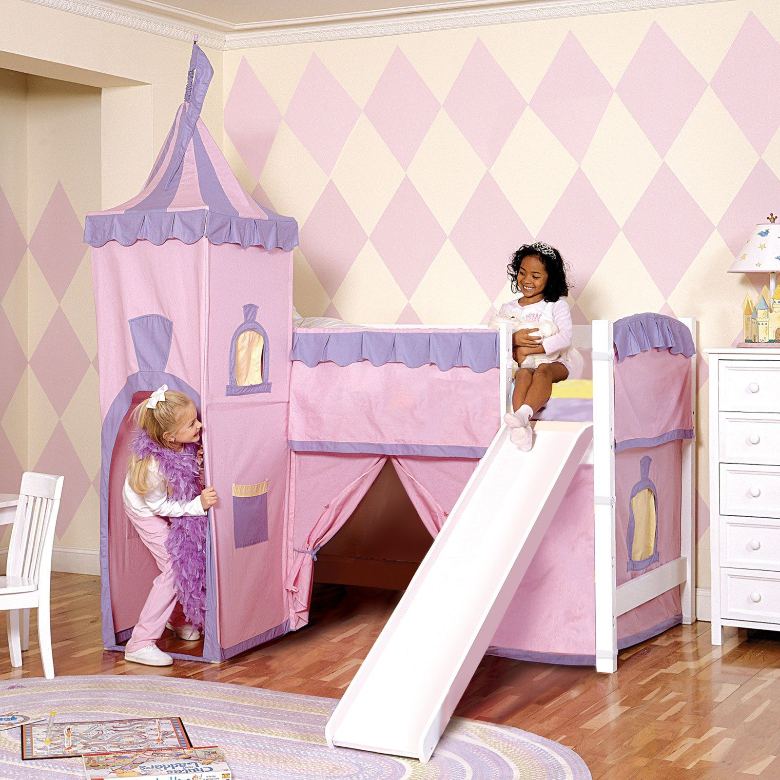 Bunk beds with slide and tent - Princess Junior Twin Loft Tent Bed With Slide