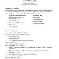 sample resume for call center job