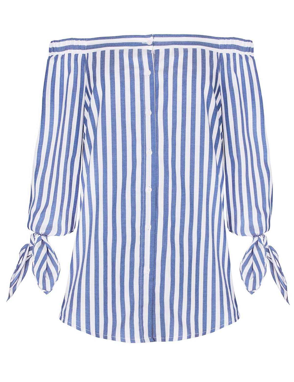 ed38e819 Cotton striped off the shoulder top with sleeve ties and button up front.  By New Revival. *100% cotton