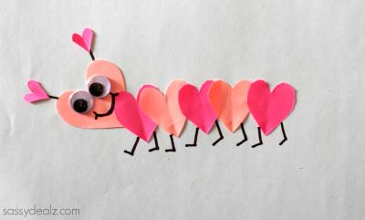 heart caterpillar craft