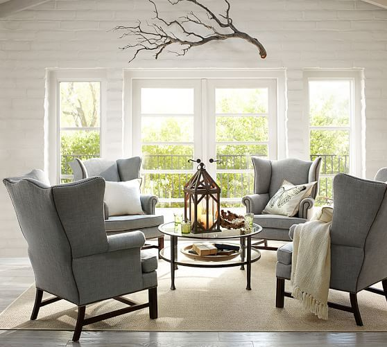 Thatcher Upholstered Wingback Chair Formal Living Rooms