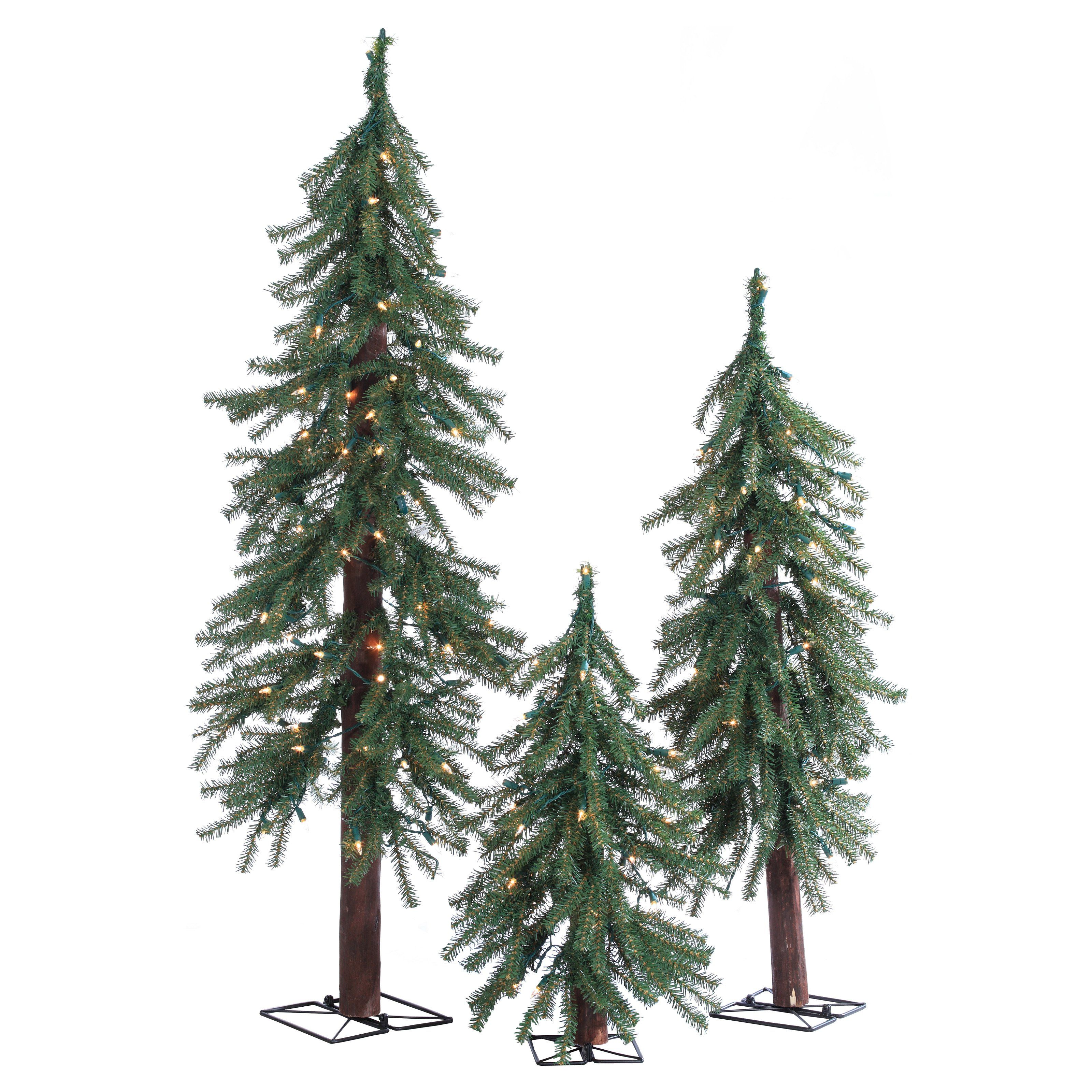 Alpine Pre Lit Slim Christmas Tree Set By Sterling Tree Company   Create A  Quaint Holiday Forrest In Any Space With The U0026 4 Ft. These Classic  Alpine Style ...