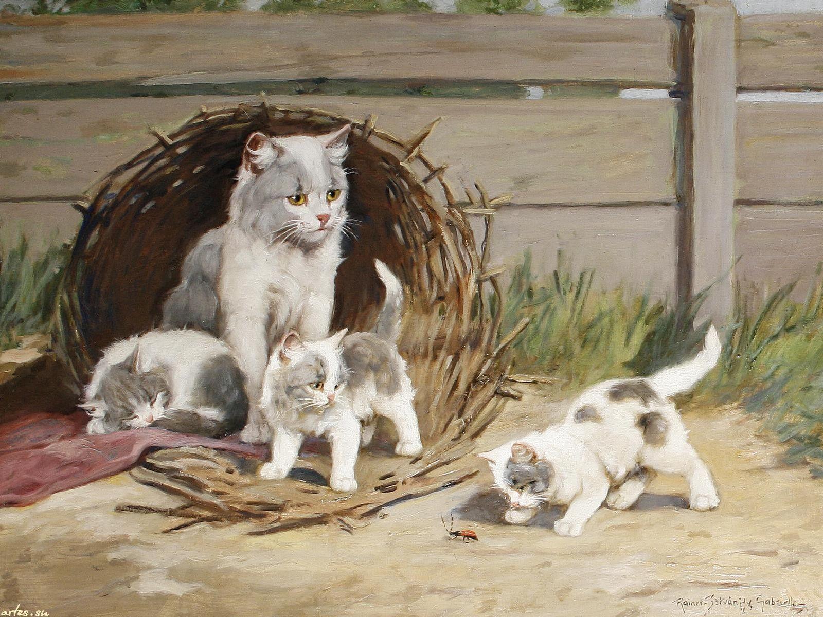 Кошка с котенком картинка для детей, картинки
