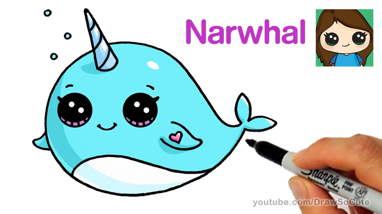 How to Draw a Cartoon Narwhal Unicorn Whale Easy - YouTube | Drawing ...