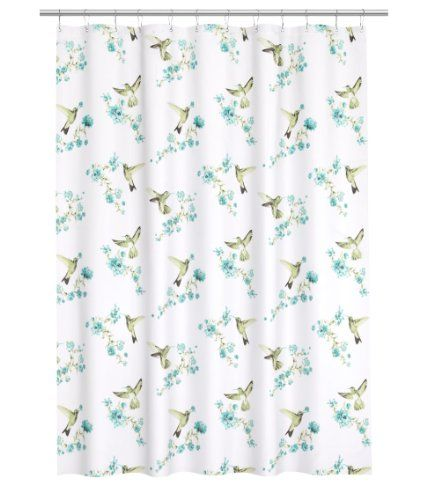 Water Repellent Fabric Shower Curtain Hummingbird Bird Floral