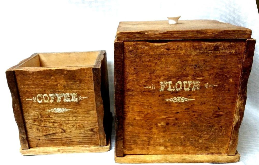 Two Vintage Handmade Wooden Kitchen Canisters Flour And Coffee Only Not Complete