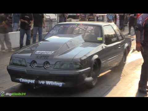joe newsham's fox body mustang doing a crazy 6-second at over 200mph pass  during the import vs domestic event  watch the video!
