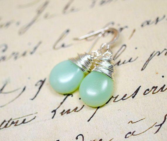 Delicate Mint Green Opal Earrings / Simple Glass and Silver Wire Wrap Jewelry / Celery Green, Celadon, Opalite