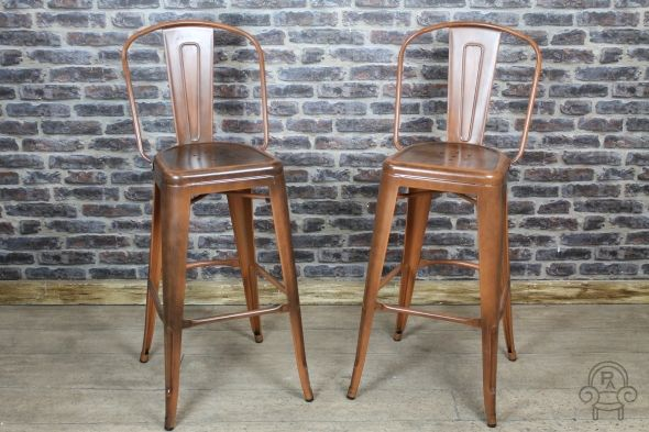Excellent Copper Tolix Style Stool Tall Metal Bar Stool With Back Gmtry Best Dining Table And Chair Ideas Images Gmtryco