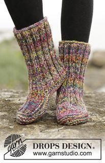 """Photo of Ribbed Confetti – Gestrickte DROPS Hausschuhe in 4 Fäden """"Fabel"""" mit Rippenmuster und Krausrippen. Gr. 35-42. – Free pattern by DROPS Design"""