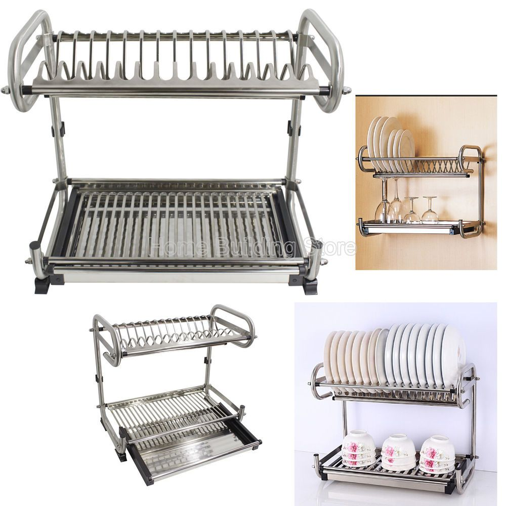 2 Tier 304 Stainless Steel Wall Floor Mounted Kitchen Dish Drying