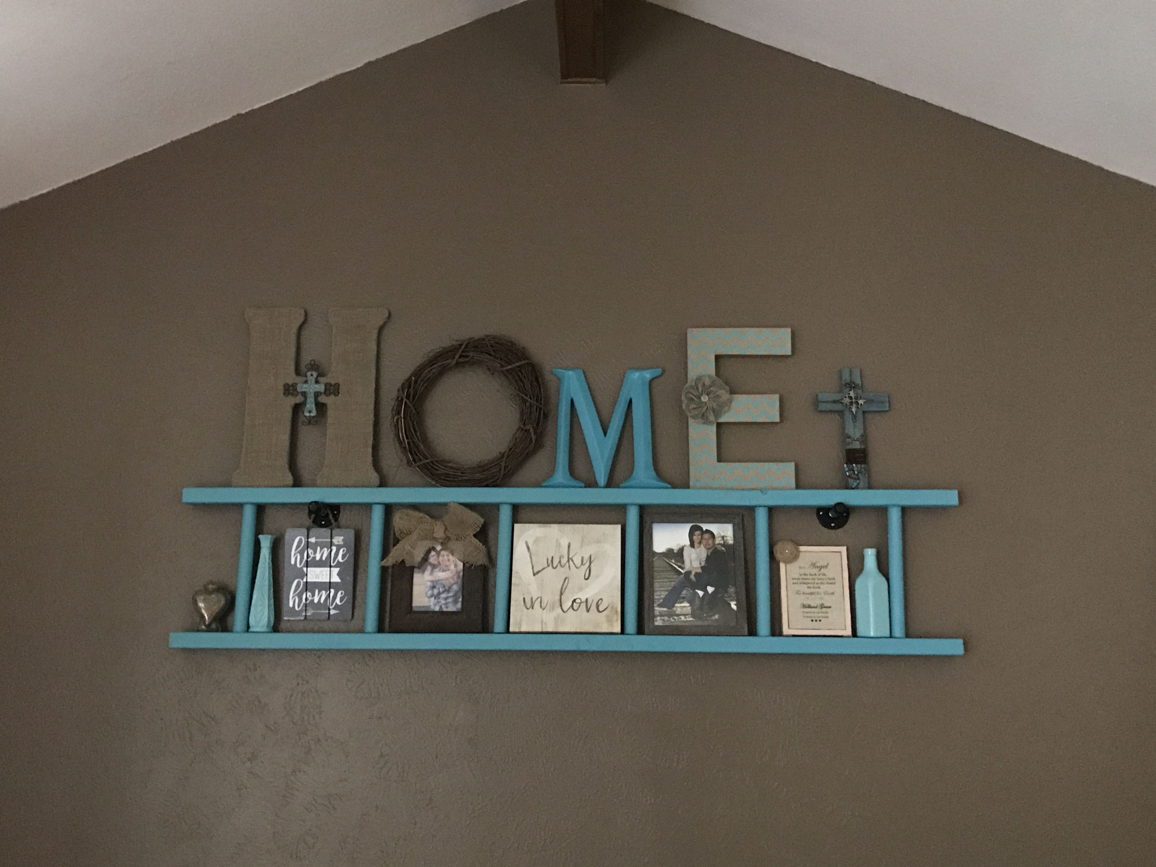 Turquoise Ladder Wall Decor Farmhouse Wall Decor Living Room Living Room Diy Basement Remodel Diy