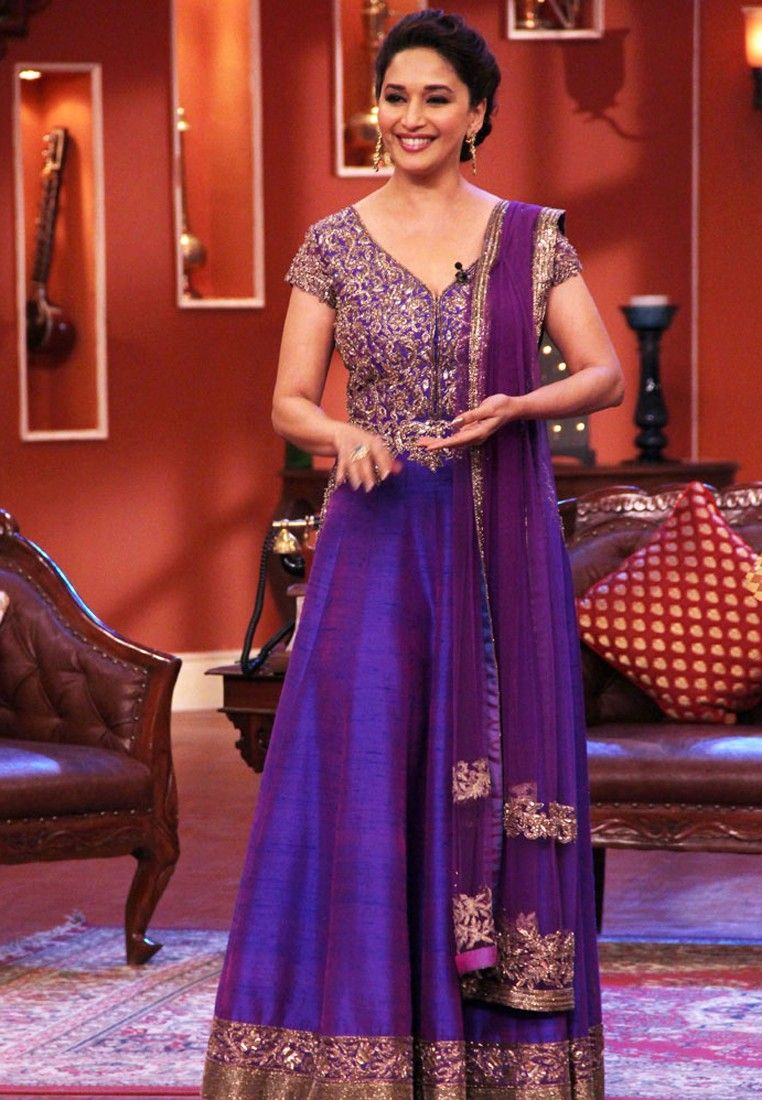 Madhuri Dixit In A Purple Raw Silk Floor Length Anarkali On The Sets Of Comedy Nights With Kapil Bollywood Fashion