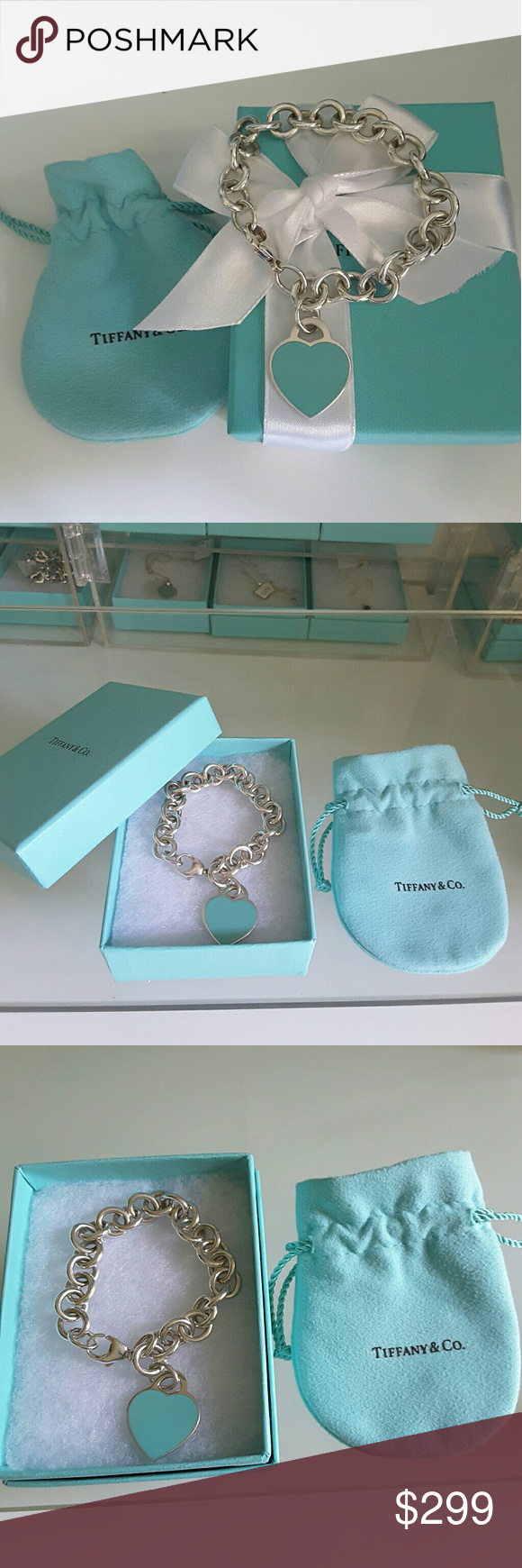 """Return to Tiffany&Co Blue enamel Heart Bracelet AUTHENTIC TIFFANY & CO. RETURN TO TIFFANY BLUE HEART CHARM BRACELET  Sterling silver 925 and Tiffany blue enamel  7 1/8""""  end to end   Hallmarks: PLEASE RETURN TO TIFFANY &CO NEW YOUR 925  Mint condition!  Includes Tiffany pouch, box, white ribbon, and Tiffany gift bag  #STN182 Tiffany & Co. Jewelry Bracelets"""
