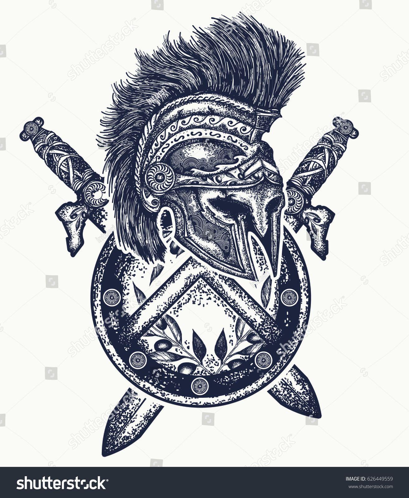 Spartan helmet crossed swords and spartan shield. Symbol ...