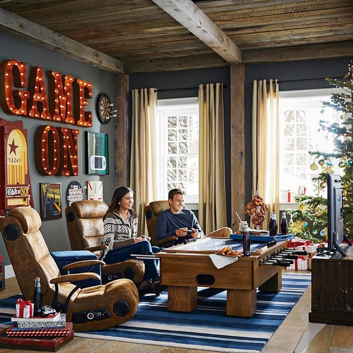 How To Create The Perfect Lounge This Holiday Season Pottery Barn Game Room Basement Game Room Family Boys Game Room