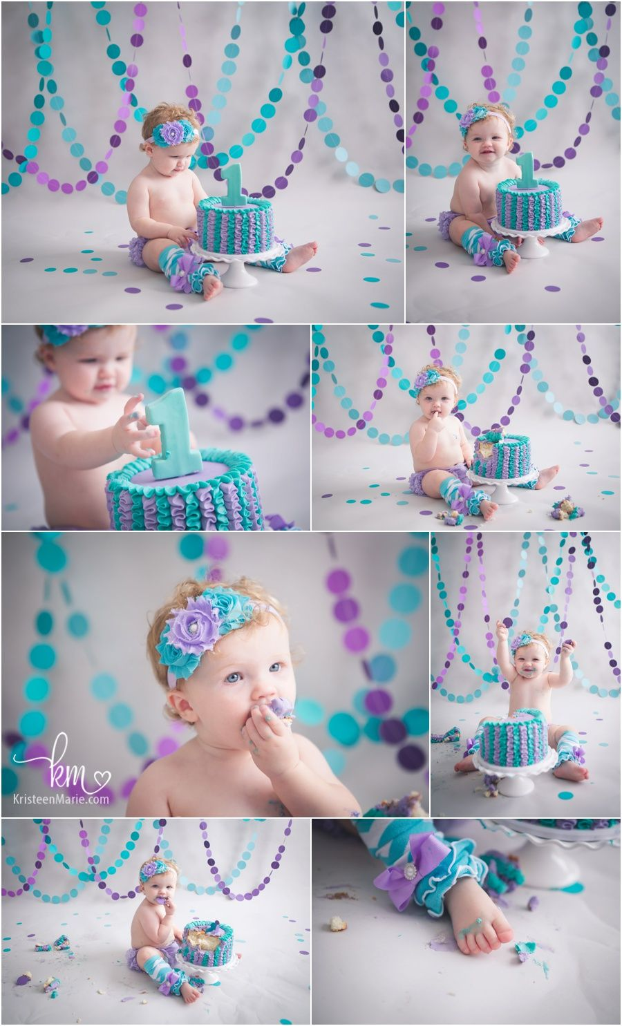 Purple And Teal 1st Birthday Cake Smash Girly Birthday Theme For