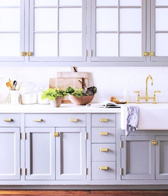 Lavender And Golden Accents Decor Hannah Fay Kitchen Cabinet Design Blue Gray Kitchen Cabinets Grey Kitchen Cabinets