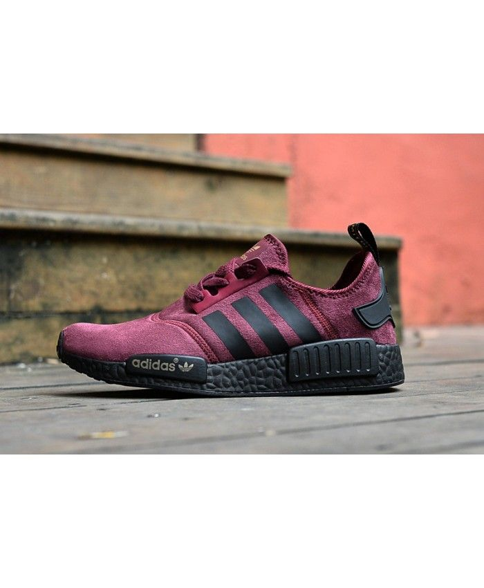 2e57c69fd Adidas NMD R1 Burgundy Triple Black Shoes