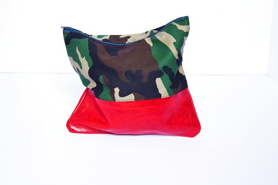 SALE Red Leather Makeup Bag Cosmetic Pouch Clutch Fold Over Bag Purse Cotton Case Camouflage