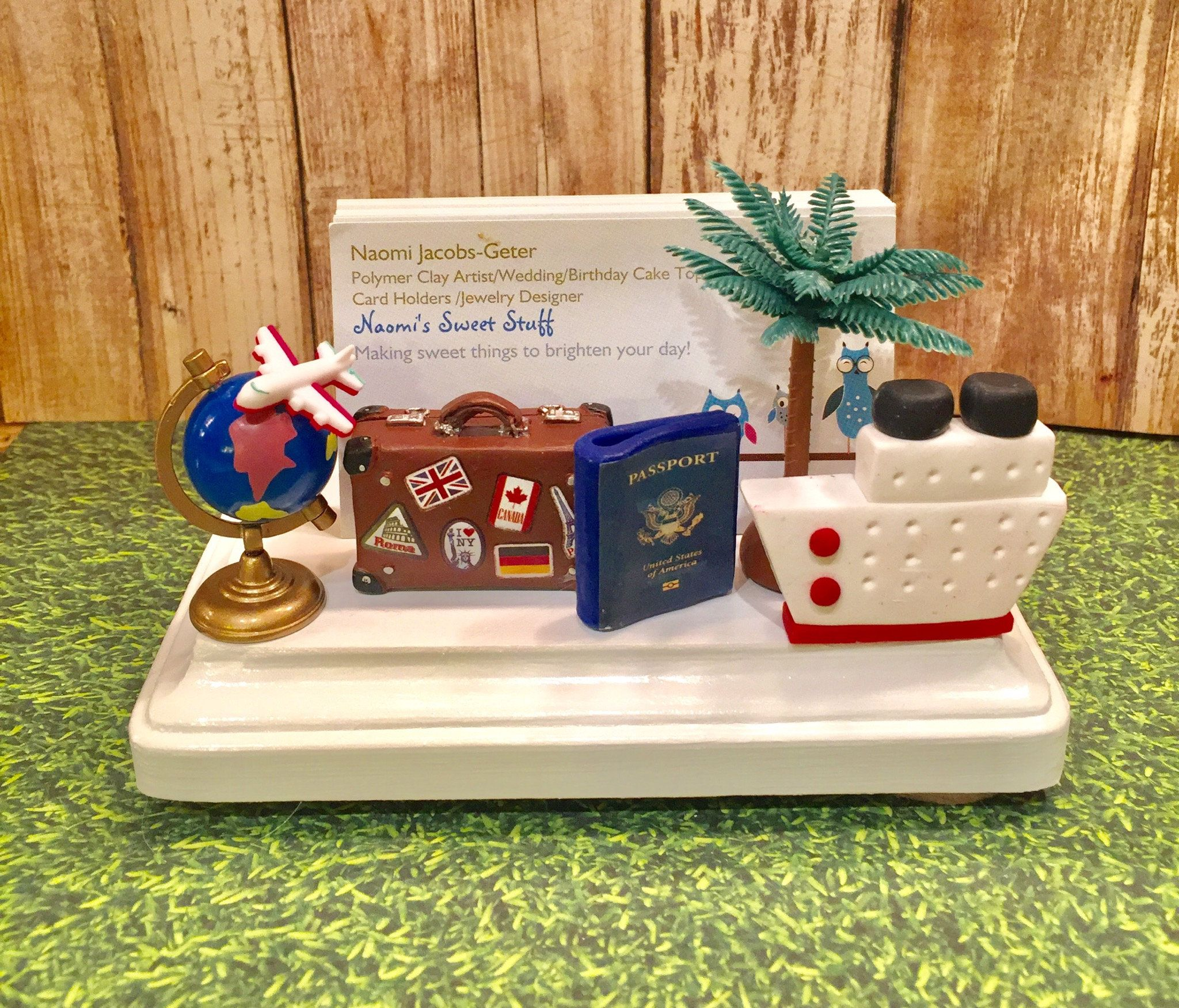 Polymer Clay Business Card Holder For Travel Agent Travel Travel
