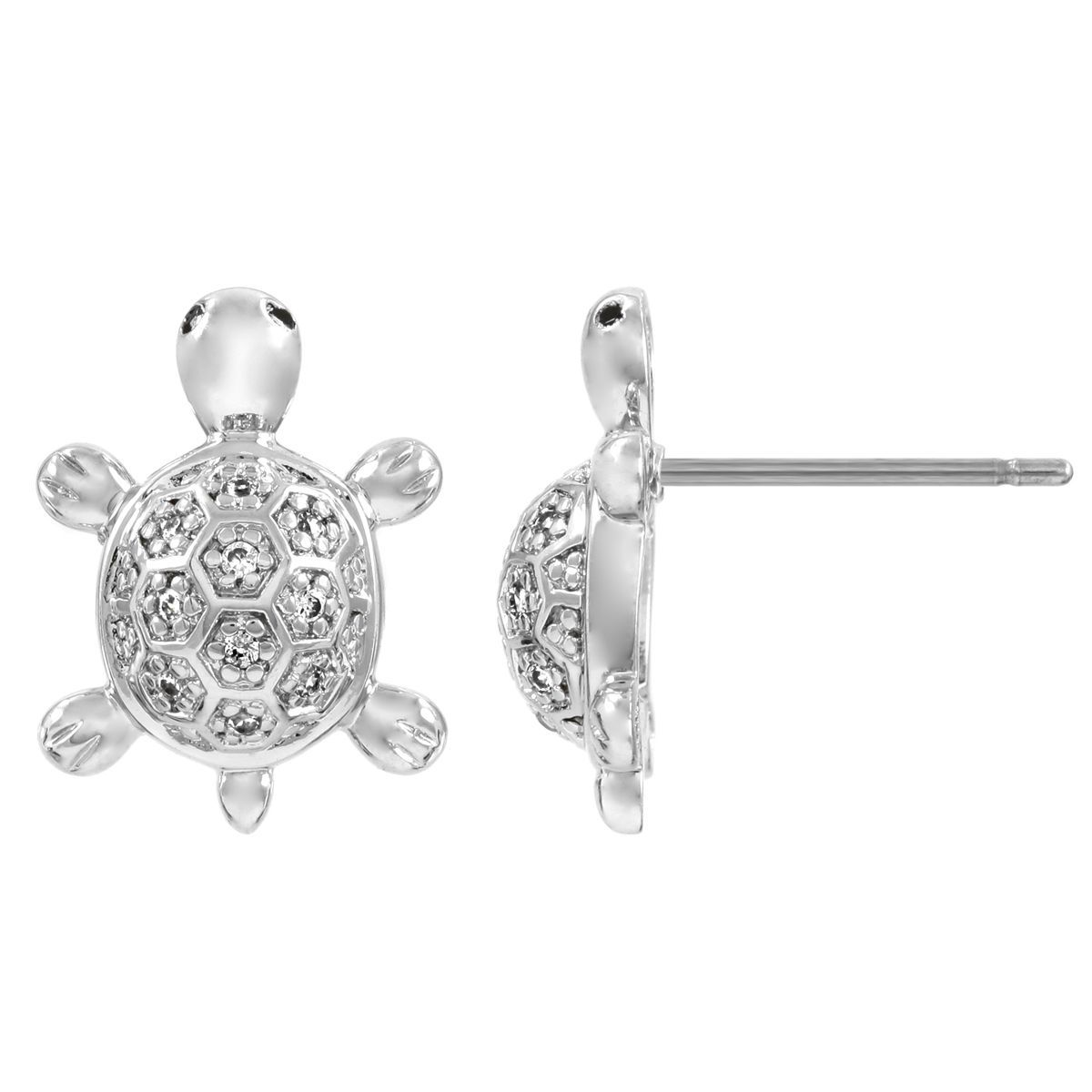 Add A Playful Touch To Any Outfit With These Cubic Zirconia Turtle Stud Earrings Adorable Feature Simple Silvertone Design And