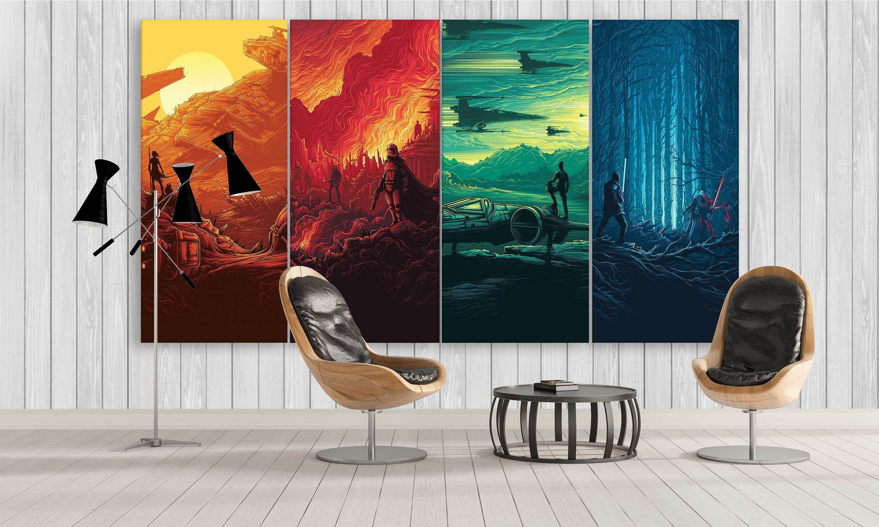 colourful star wars canvas prints from awake forces on canvas wall art id=16303