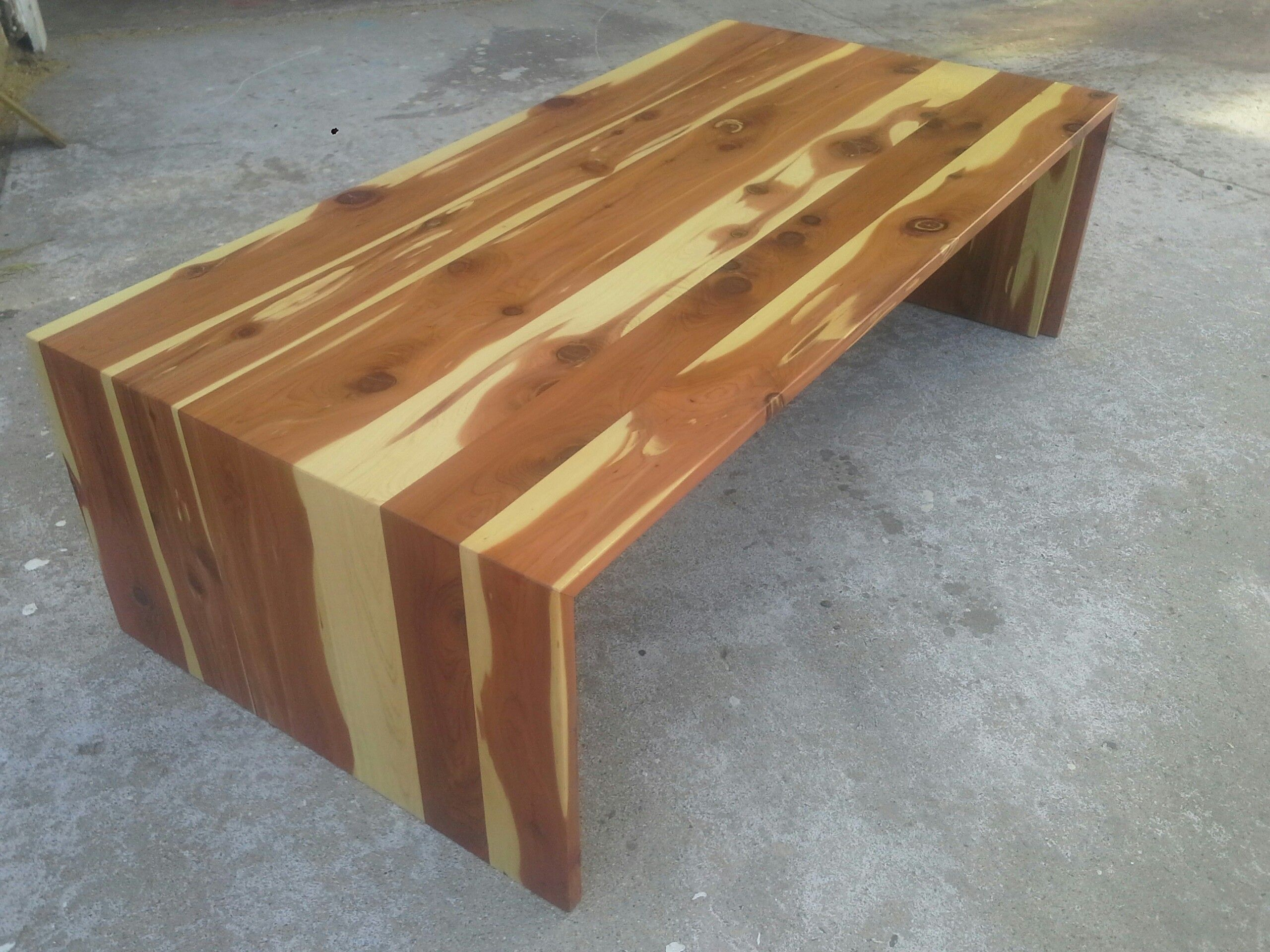 Aromatic cedar waterfall table by my daddy Todd Timmons llow