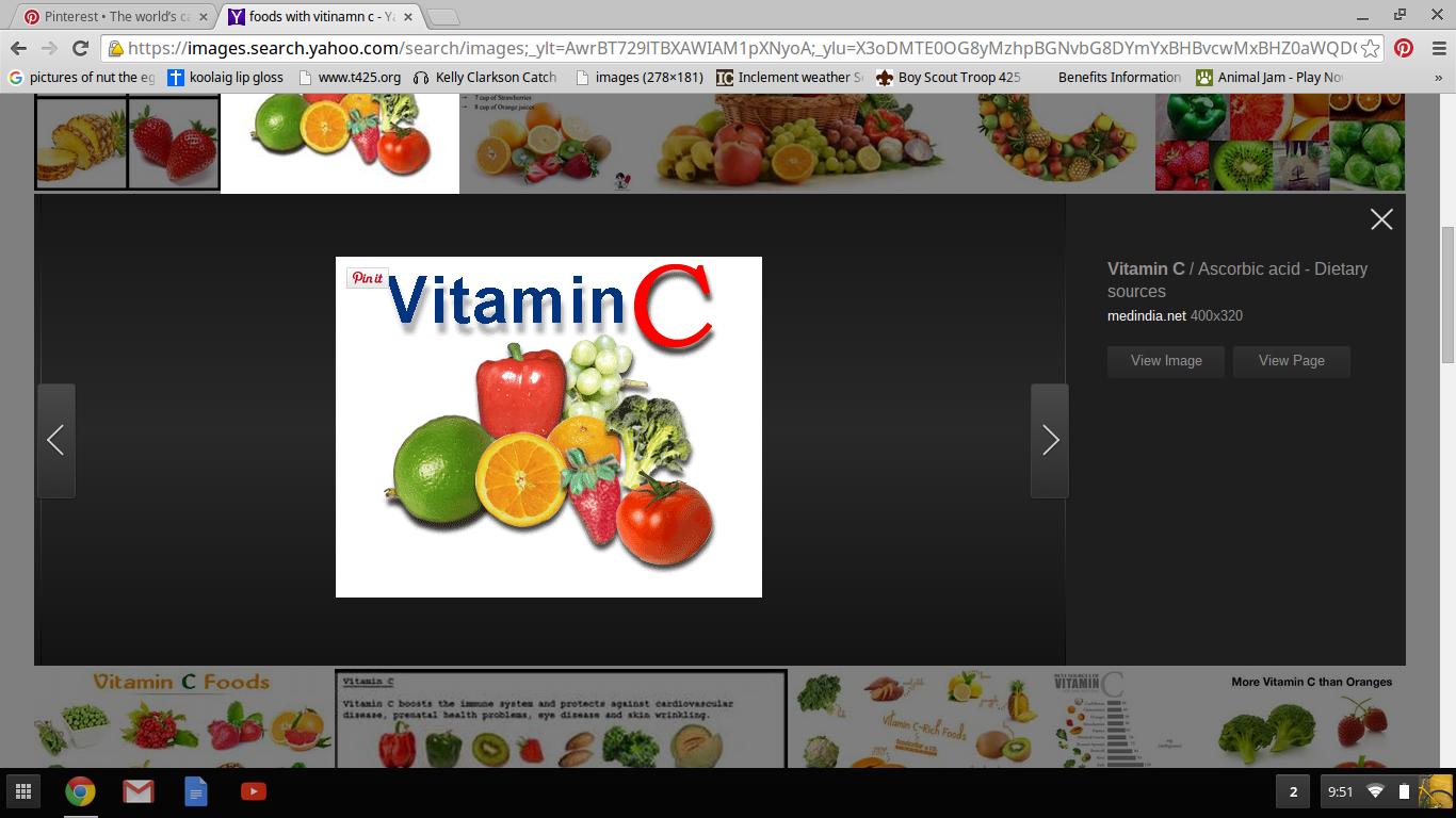 I lack vitiaman C, which is found in fruits and veggies, ecspecially oranges. To get vitiman C i will try to eat more citruis fruits, and with out it, my skin will be very dry and i could get scurvy.