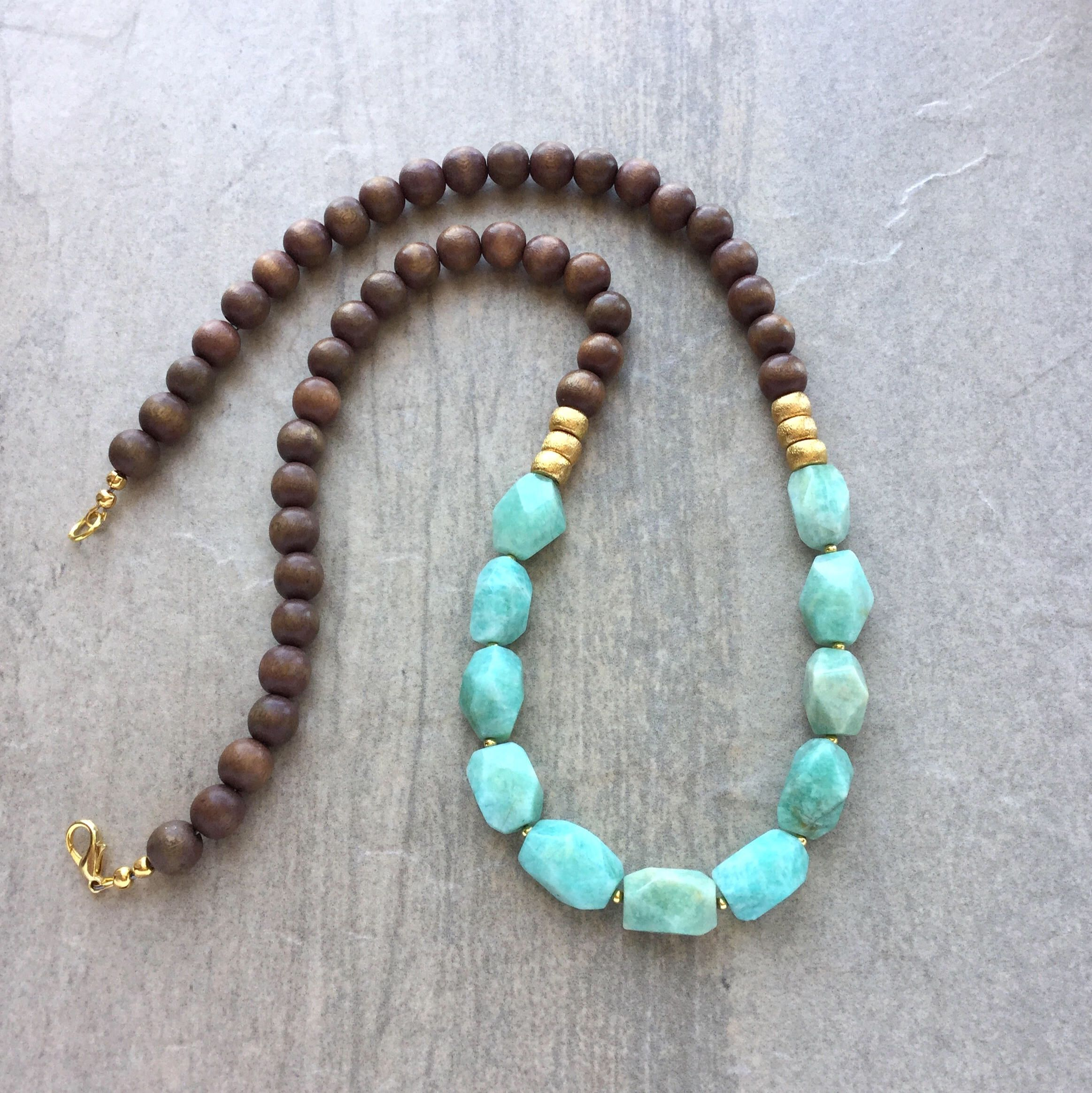 to mosaic item turquoise of expand beads necklace two strand full amazonite click with flower