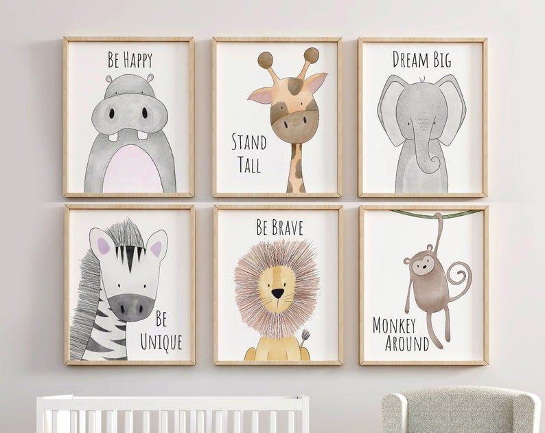 Safari Nursery Decor Set Animal Nursery Prints Quote Nursery Nursery Animal Prints Animal Nursery Decor Nursery Decor Sets