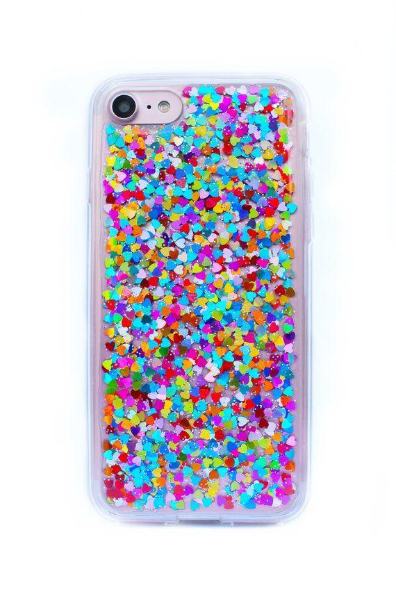separation shoes cd0e5 39dcd Rainbow Hearts Glitter Phone Case, Samsung Galaxy S8 Case, iPhone 7 ...