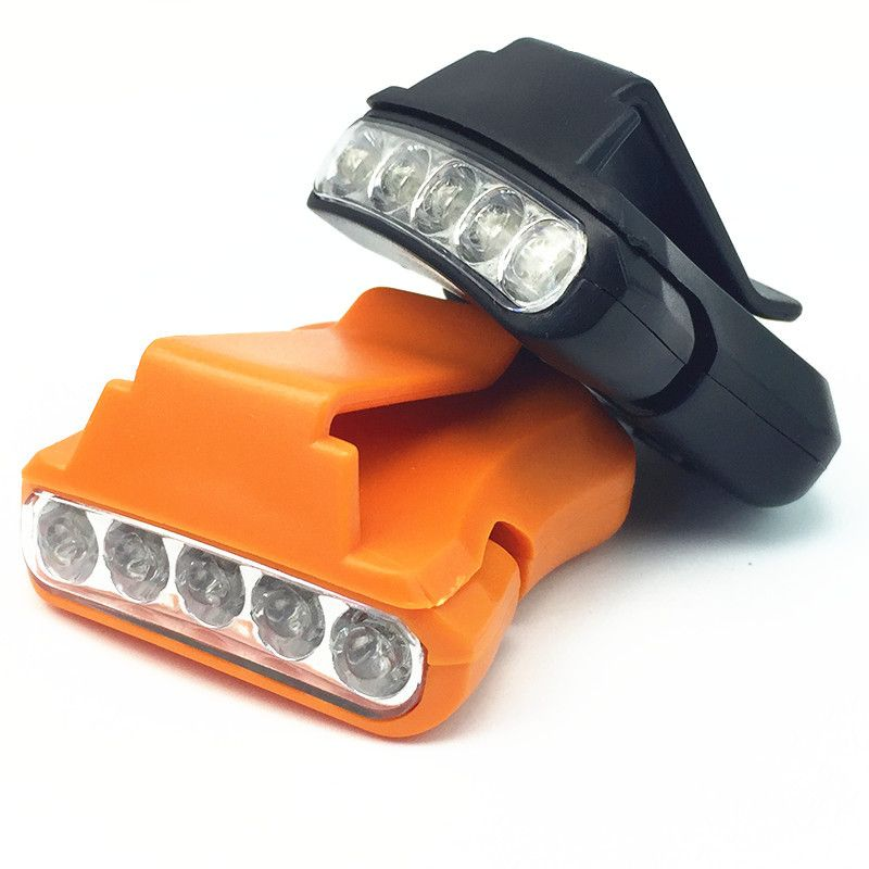 Head Cap Hat Light Adjustable Clip On 5 LED Fishing Lamp with Battery for Outdoor