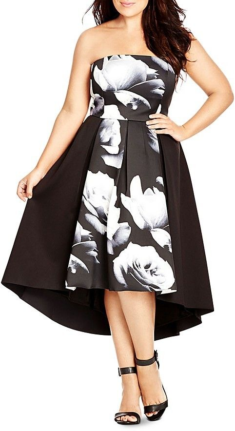 City Chic Blown Rose Floral Print Dress City Chic