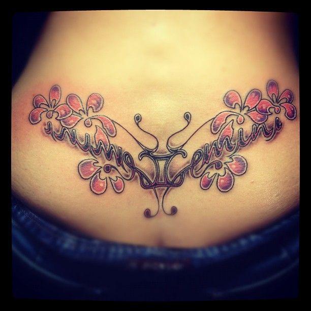 b26c3eb4e Pink Flowers With Gemini Tattoo On Lowerback For Women | Body Art ...