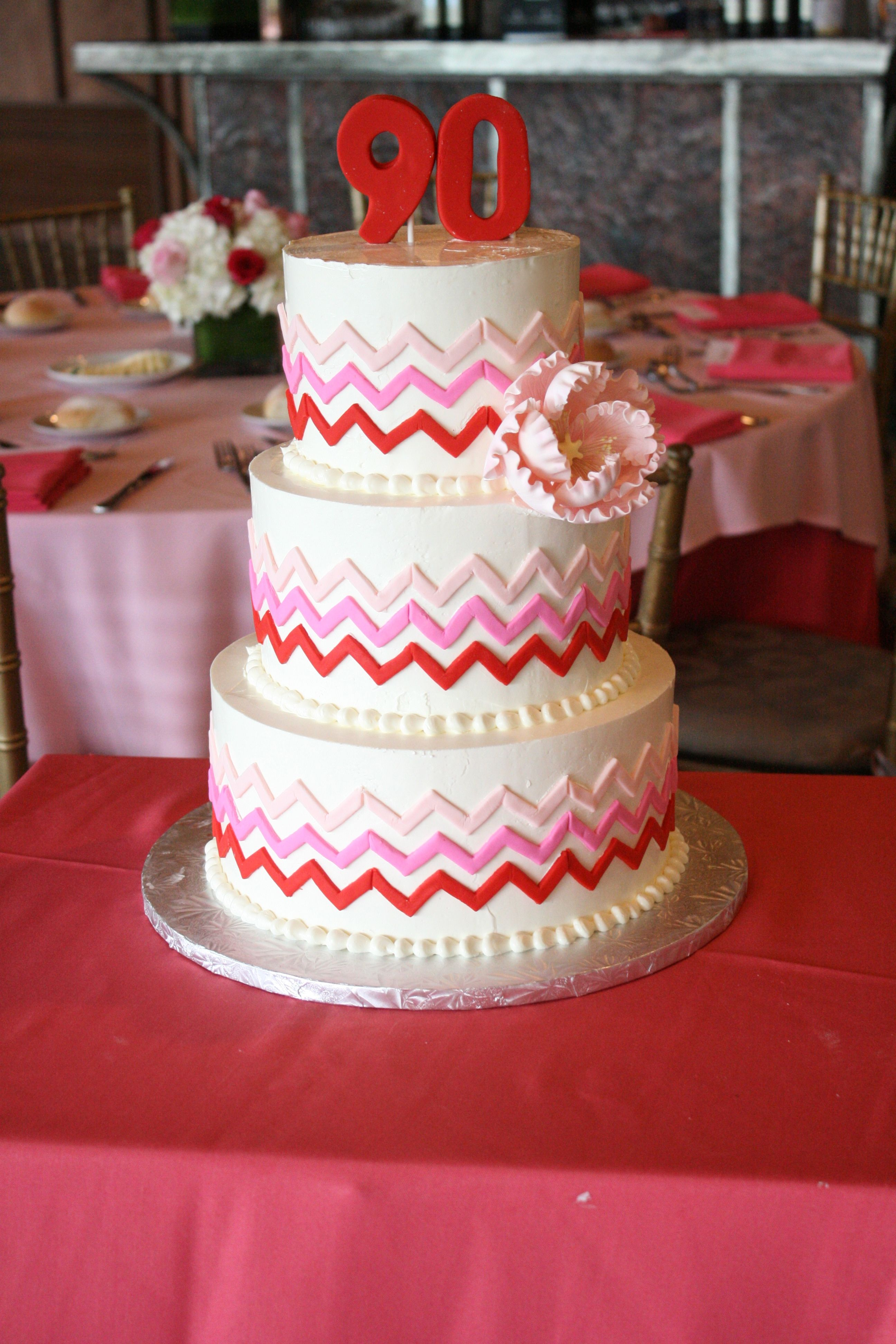 Pink And Red Chevron Birthday Cake GoodieBox Bakeshop Event In Jersey City NJ
