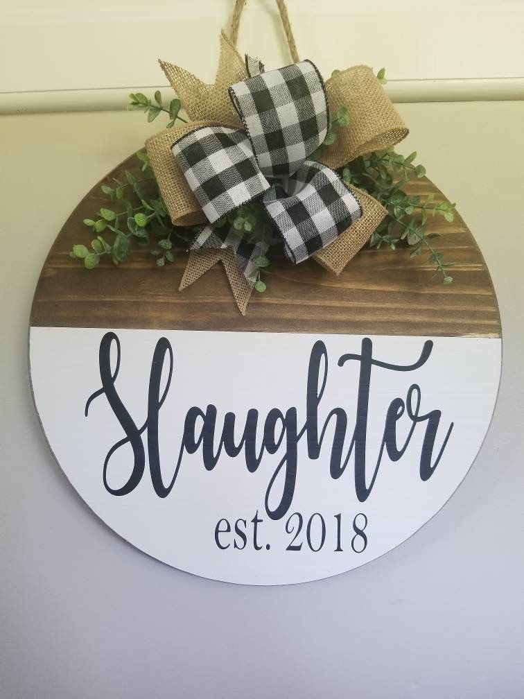 Farmhouse Rustic Wall Decor  Front Door Hanger  Porch Round Sign  Family Name Established Date  Greenery Burlap  Personalized Paint