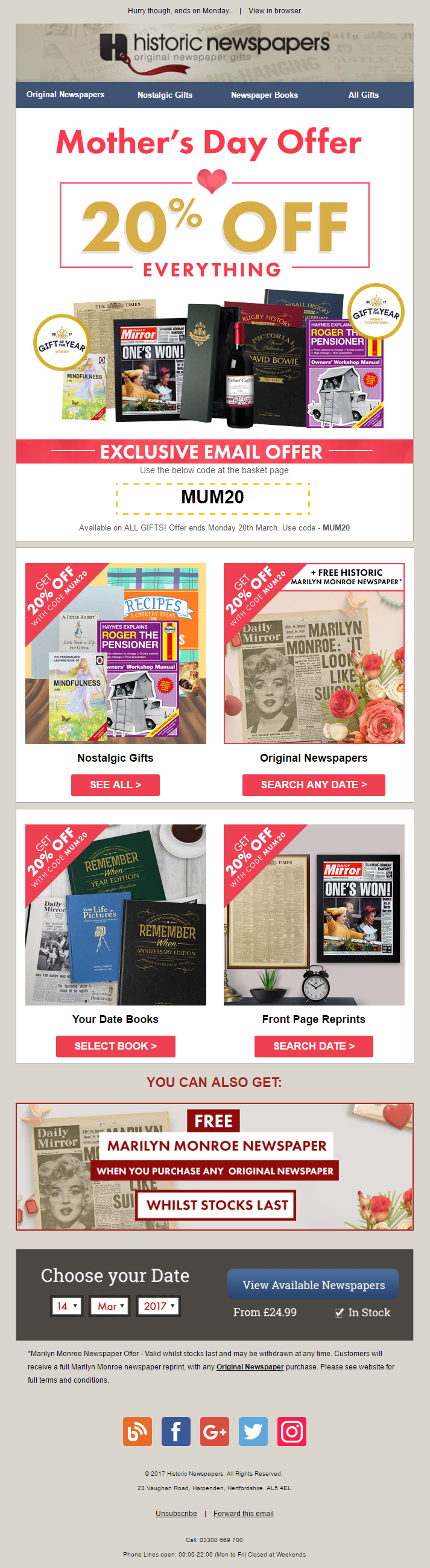mother s day 20 off offer email with coupon code from historic mother s day 20 off offer email with coupon code from historic newspapers emailmarketing