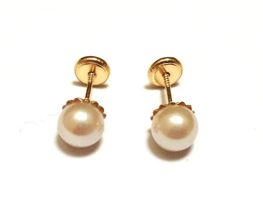 4mm Gold Pearl Back Earrings