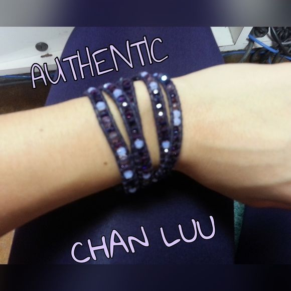 Designer Chan Luu purple leather 5 wrap bracelet Beautiful purple 5 wrap bracelet. The stones are gorgeous and sparkle so much  Pictures don't do it justice! Gently used and in excellent condition  Chan Luu Jewelry Bracelets
