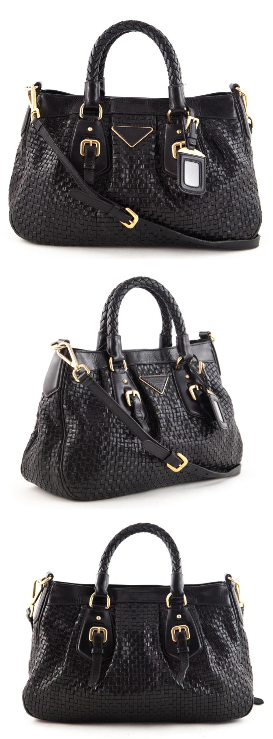 Prada satchel bag in black pebbled calfskin with gold hardware ...