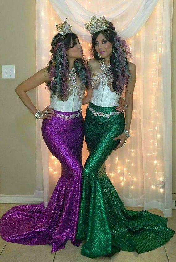 Purple Green Turquoise Mermaid Skirt Fish Tail Costume Etsy Disfraz De Sirena Casero Traje De Sirena Vestido Sirena