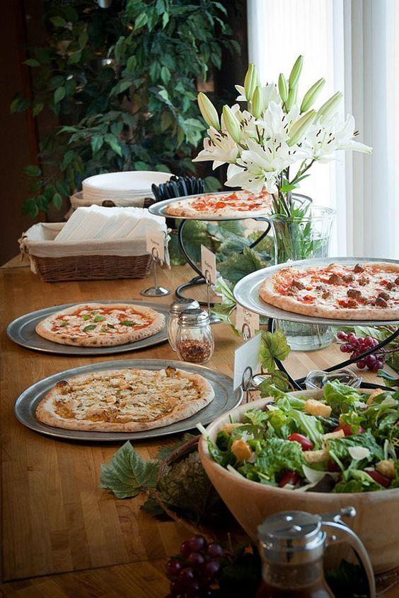 Gourmet Pizza Bars B Lovely Events Pizza Buffet Wedding Food Table Wedding Reception Food Buffet