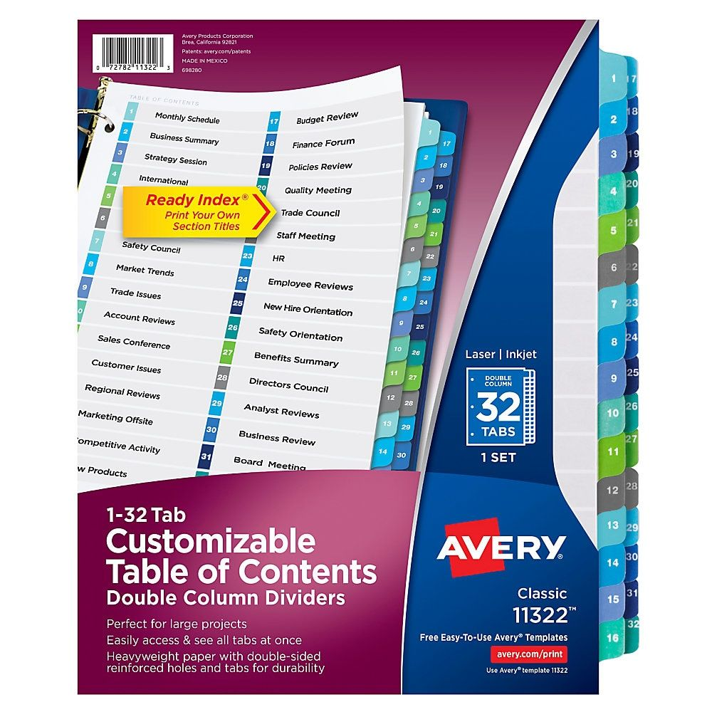 Avery Ready Index 20% Recycled Double-Column Table Of