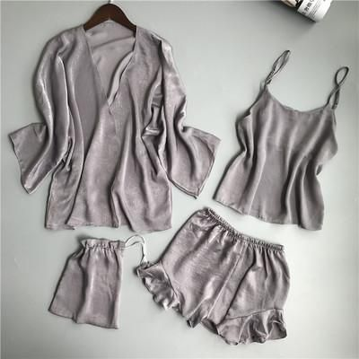 Women s Underwear Set Silk Pajamas for Women Summer Sexy Sleepwear Nightie  Pyjama Femme 4pcs Set Homewear 0c698e4dd