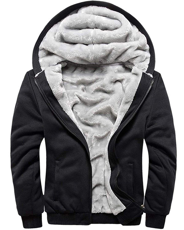 Alion Mens Winter Fleece Lined Hoodies Sweat Suit Camo Thicken Tracksuit Set